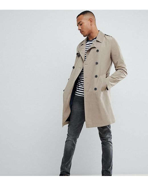 ASOS - Natural Tall Shower Resistant Trench Coat In Stone for Men - Lyst