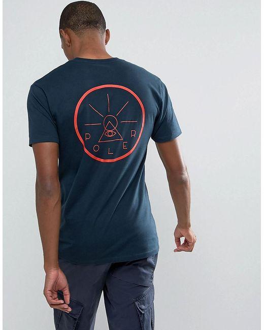 Poler   Blue T-shirt With Golden Circle Back Print for Men   Lyst