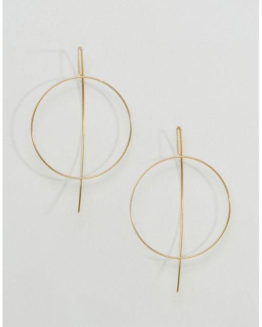 ASOS - Metallic Fine Open Hoop Through Earrings - Lyst