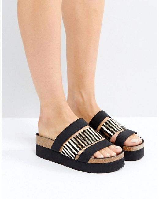 Sixtyseven | Black Triple Strap Slider Sandals | Lyst