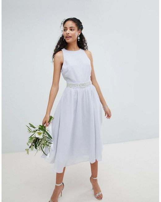 Tfnc London Blue Embellished Midi Bridesmaid Dress With Full Skirt Lyst