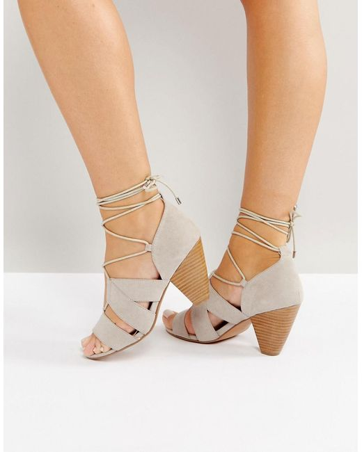 ASOS - Gray Asos Tali Lace Up Heeled Sandals - Lyst