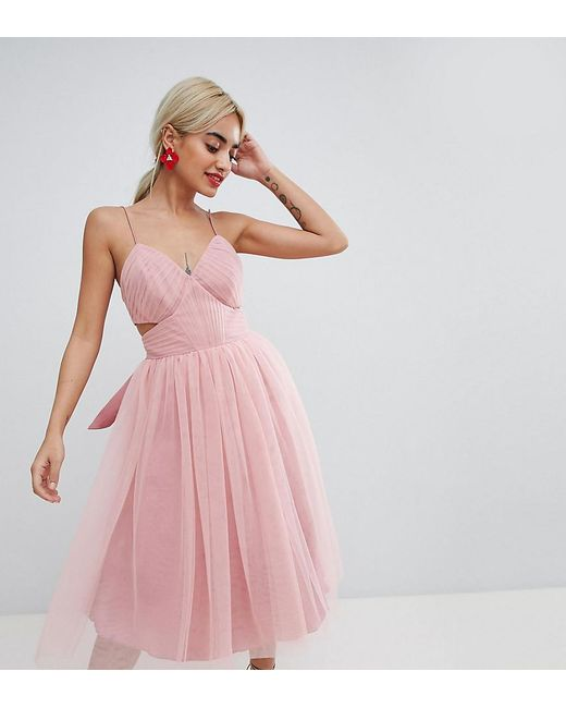 Asos Asos Design Petite Mini Tulle Prom Dress With Cut Out Side In