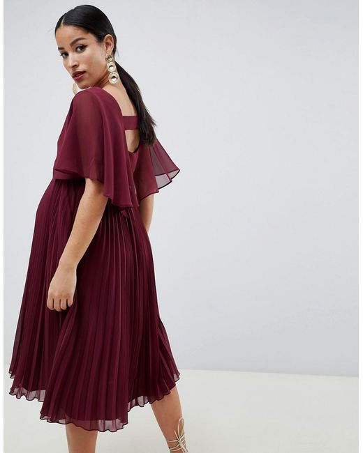 12a4866d22 ... ASOS - Purple Asos Design Maternity Midi Dress With Pleat Skirt And Flutter  Sleeve - Lyst
