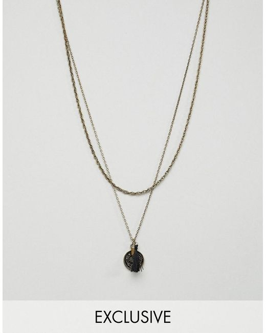Reclaimed (vintage) - Metallic Inspired Necklace With Coin Pendant Exclusive At Asos for Men - Lyst