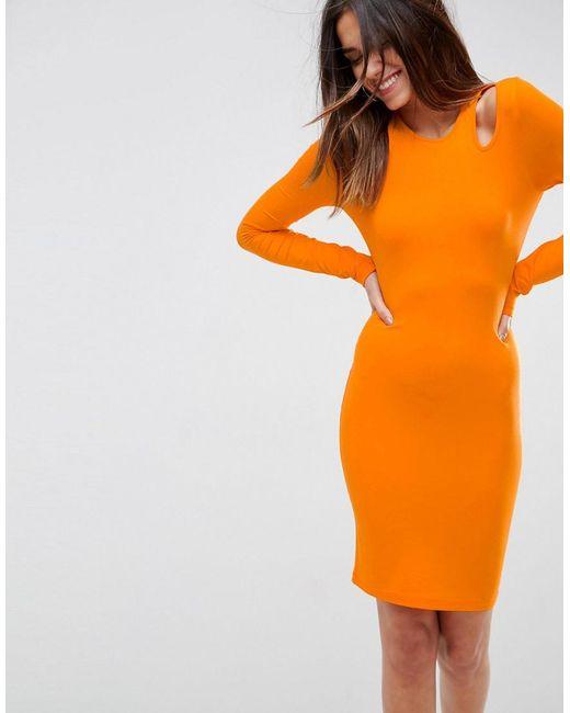 ASOS | Orange Mini Cut Out Shoulder Bodycon Dress | Lyst