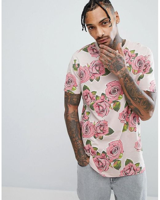 ASOS DESIGN - Pink Longline T-shirt With Rose Print for Men - Lyst