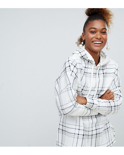 e073271adb2c Lyst - Monki Check Hoodie In Off White in White