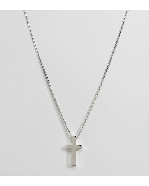 Seven London - Metallic Sterling Silver Cross Necklace In Silver for Men - Lyst