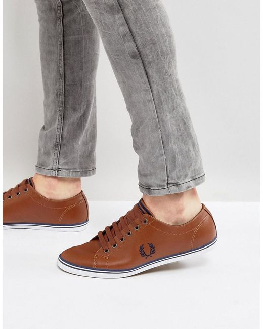 Fred Perry | Brown Kingston Leather Plimsolls Tan for Men | Lyst