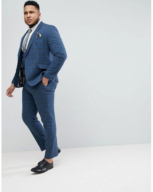 PLUS Skinny Suit Trousers In Blue Gradient Wool Blend Check - Blue Asos FXi7MxWk