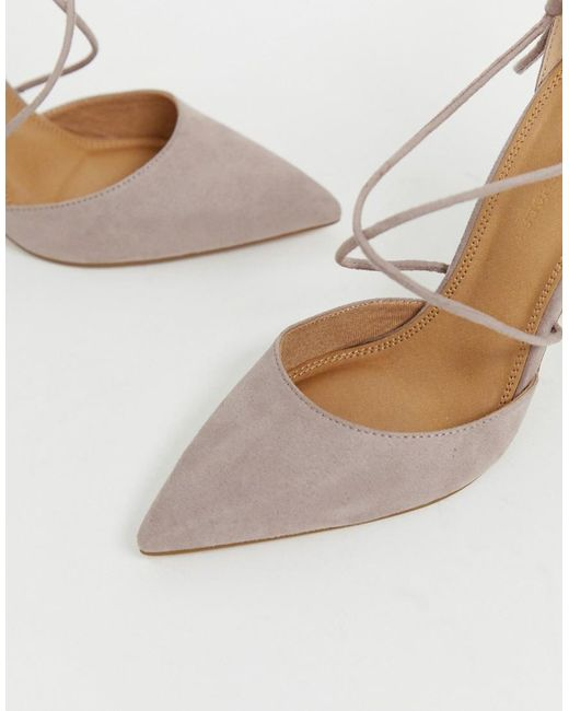 81e4559586253 ... ASOS - Gray Power Trip High Block Heels In Taupe - Lyst