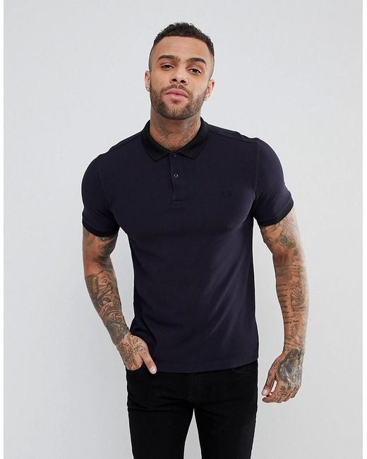 Fred Perry - Blue Slim Fit Matt Tipped Pique Polo Shirt In Navy for Men ...