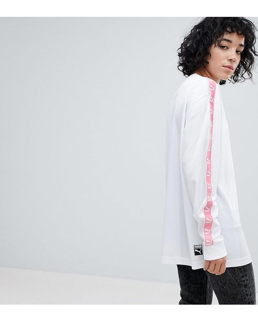 PUMA - Exclusive To Asos Football Jersey In White With Pink Taping - Lyst