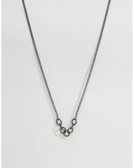ASOS | Metallic Hoop Pendant Necklace In Gunmetal for Men | Lyst