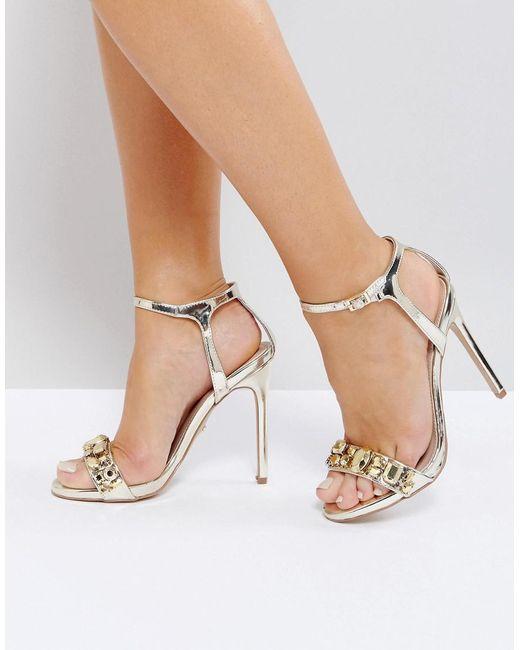 Carvela Kurt Geiger | Metallic Gail Rose Gold Embellished Heeled Sandals | Lyst