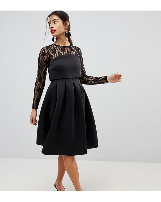 087c9b918e8b ASOS - Black Lace Long Sleeve Crop Top Prom Dress - Lyst ...