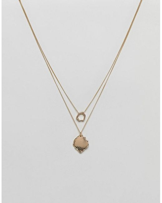 ASOS | Metallic Rough Cut Disc Multirow Necklace | Lyst