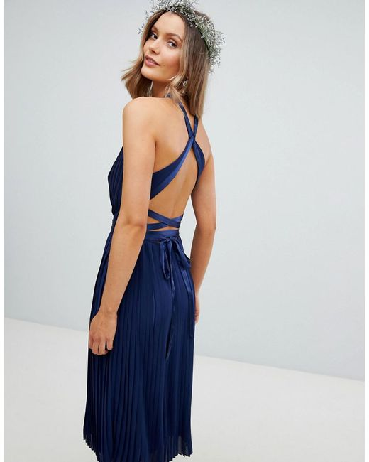 1667cd21503 ... TFNC London - Blue Pleated Midi Bridesmaid Dress With Cross Back And  Bow Detail - Lyst