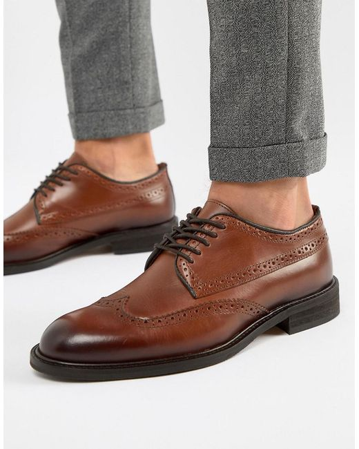 SELECTED - Brown Leather Brogue Shoe for Men - Lyst