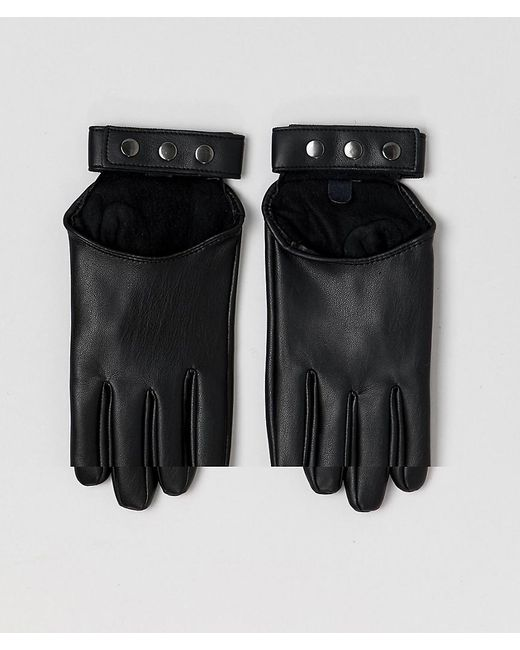 ASOS - Black Leather Look Strapping Gloves - Lyst