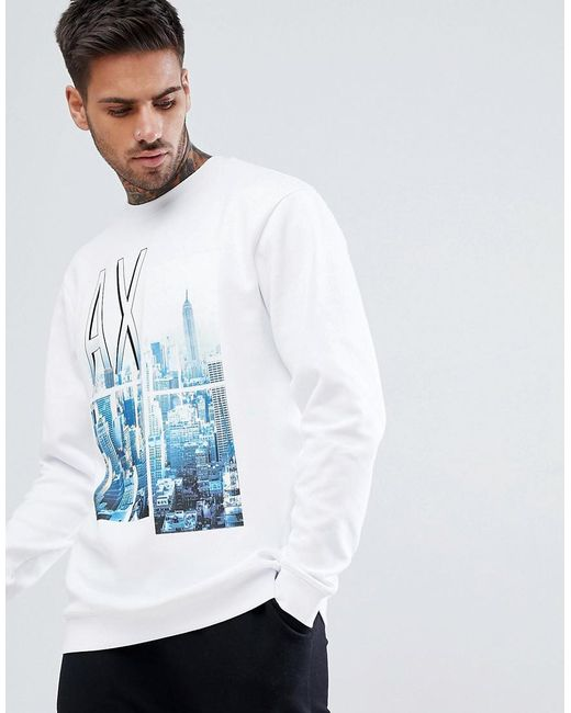 Armani Exchange - City Print Crew Neck Sweat In White for Men - Lyst