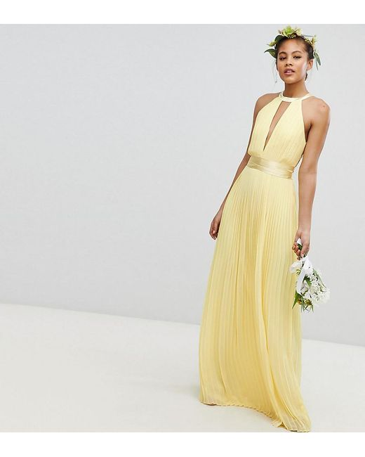 dd507bb8af99 TFNC London - Yellow Pleated Maxi Bridesmaid Dress With Cross Back And Bow  Detail - Lyst ...