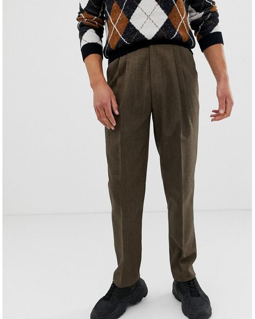 ASOS High Waist Wool Mix Trouser With Wide Leg And Stripe In Brown for men