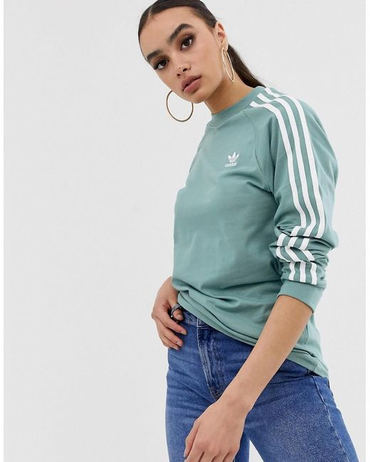c2ea062d741 Adidas Originals - Green Adicolor Three Stripe Long Sleeve T-shirt In  Vapour Steel ...