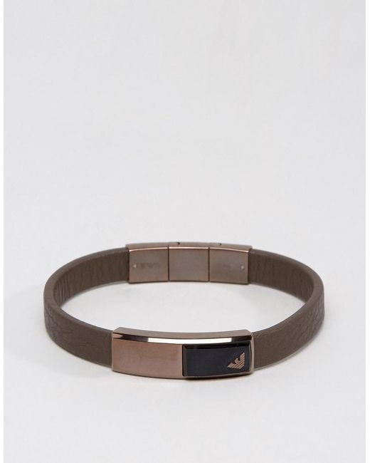 Emporio Armani | Eagle Leather Bracelet In Brown for Men | Lyst