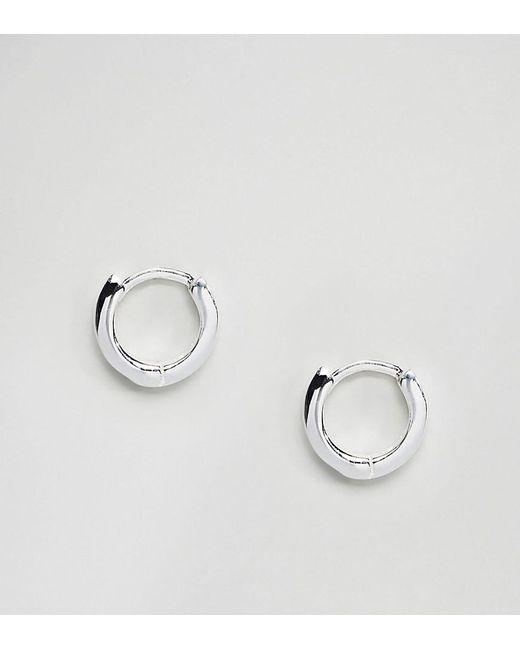 ASOS - Metallic Sterling Silver huggie Hinged Hoop Earrings - Lyst