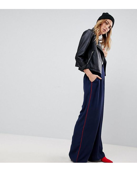 ASOS - Blue Tall Tailored Contrast Piped Track Pant - Lyst