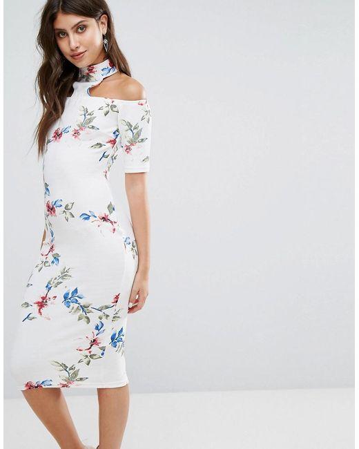 AX Paris - Multicolor Cream T-bar Floral Printed Midi Dress - Lyst