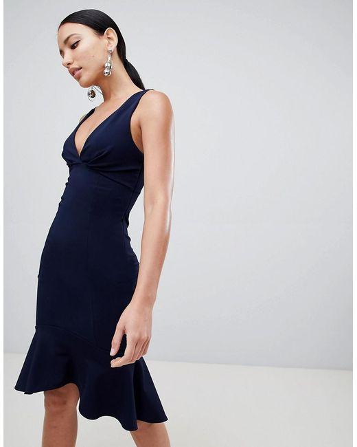 Lipsy - Blue Plunge Front Flippy Hem Midi Dress - Lyst