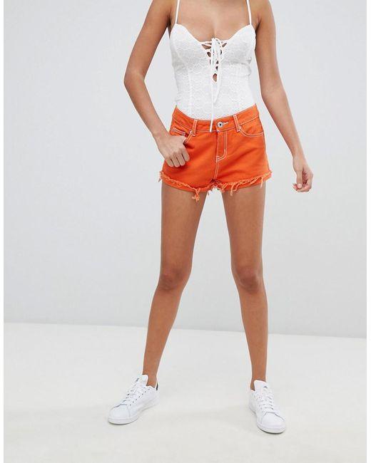Liquor N Poker - Orange Denim Short With Contrast Thread - Lyst