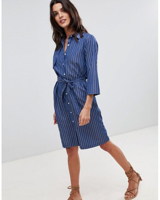 Liquorish - Blue Pin Stripe Shirt Dress With Open Back - Lyst