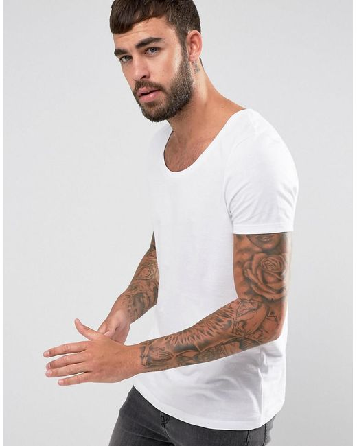 Lyst asos t shirt with deep scoop neck in white for men for Deep scoop neck t shirt