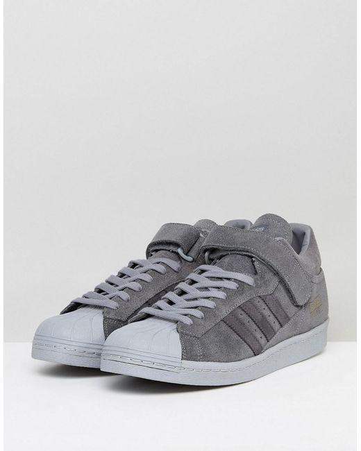Lyst adidas originali superstar formatori in grigio bz0210 in grigio.