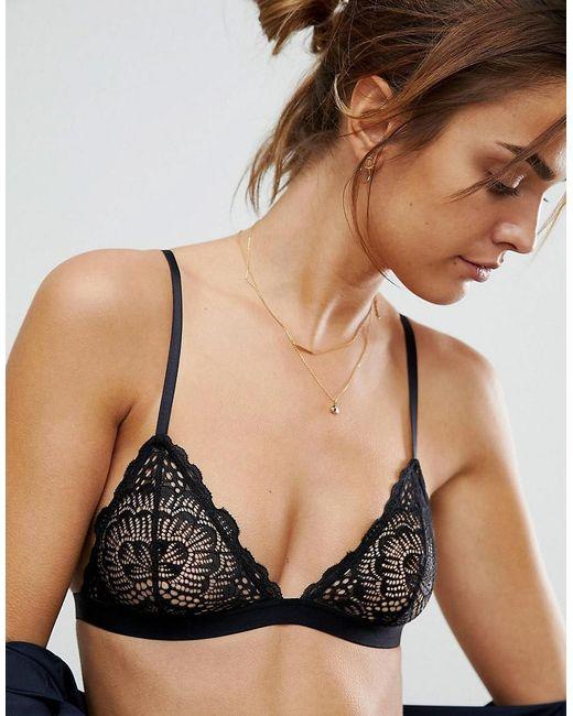 ASOS DESIGN - Black Rita Basic Lace Mix & Match Triangle Bra - Lyst