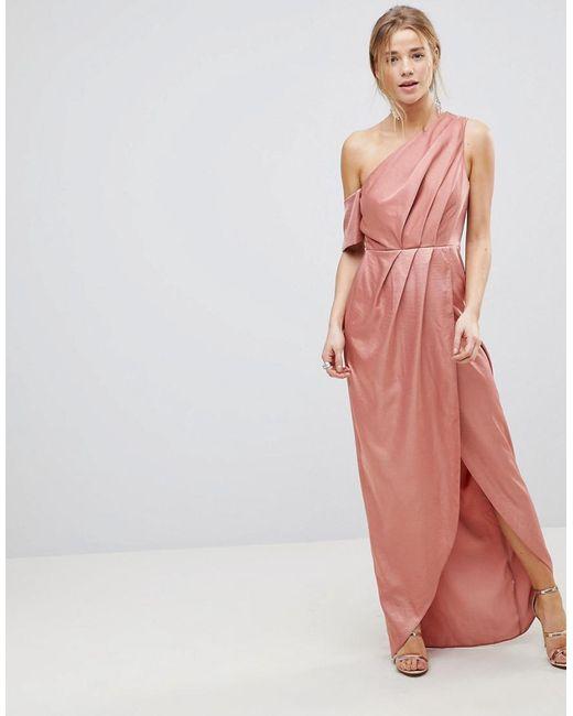 ASOS - Multicolor Hammered Satin One Shoulder Maxi Dress - Lyst ...