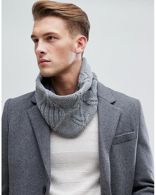 Esprit - Gray Cable Snood In Grey for Men - Lyst
