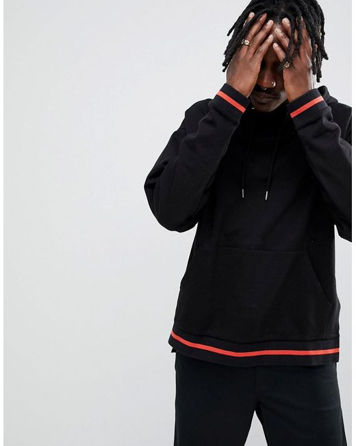 ASOS - Oversized Hoodie With Step Hem And Tipping In Black for Men - Lyst