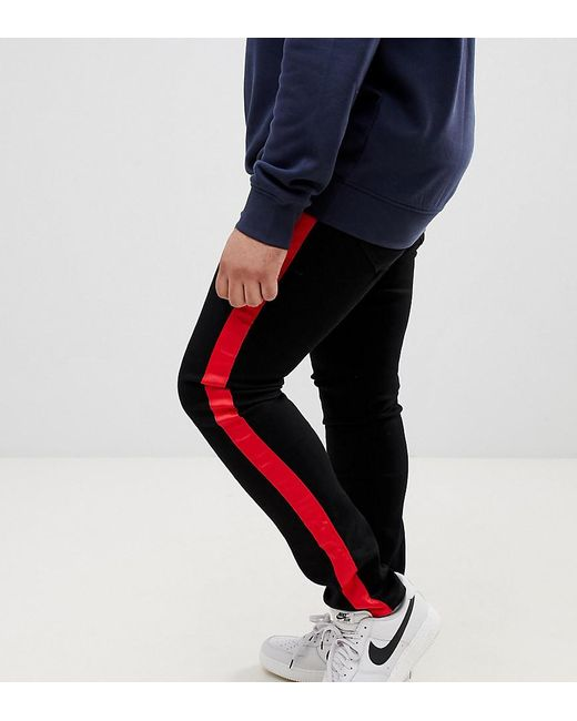 be60b279aefa53 Sixth June - Super Skinny Jeans In Black With Red Side Stripe Exclusive To  Asos for ...