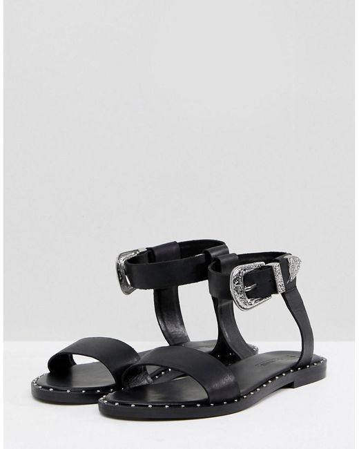 ASOS FAZ Leather Western Sandals UP4rEINy9