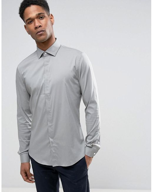Reiss | Green Slim Smart Shirt With Concealed Placket for Men | Lyst