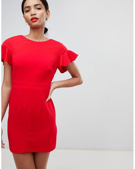 ASOS - Red Mini Wiggle Dress With Fluted Sleeve - Lyst
