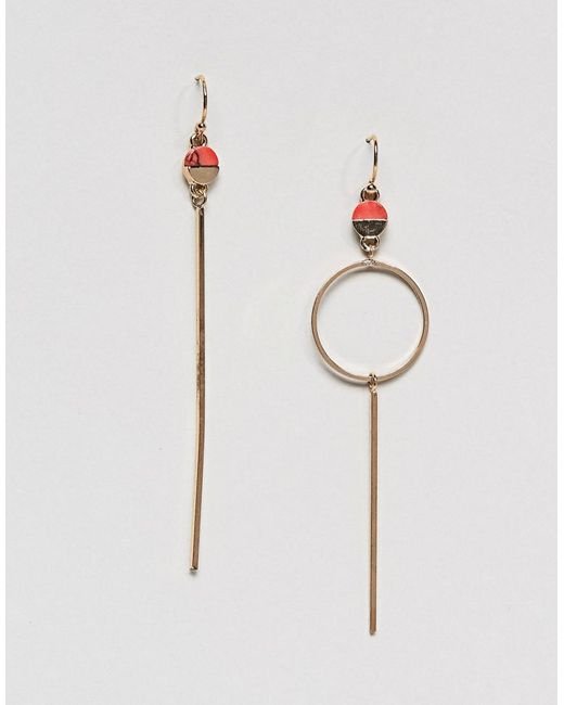 Pieces | Red Circle Drop Earrings | Lyst
