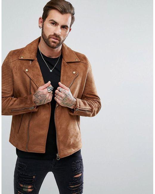 Asos Faux Suede Biker Jacket In Tan In Brown For Men Lyst