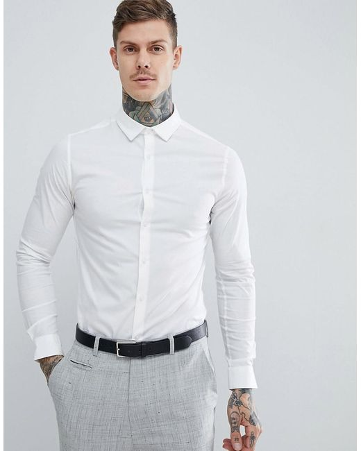 be7353075e63 Lyst - ASOS Skinny Shirt In White With Long Sleeves in White for Men ...