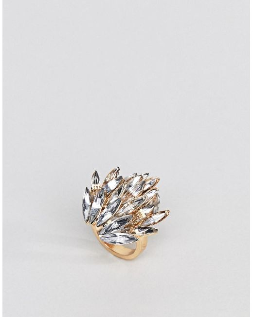 ASOS - Metallic Statement Jewel Ring - Lyst